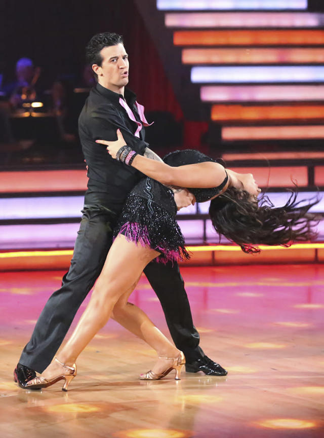 "Mark Ballas and Alexandra Raisman perform on ""Dancing With the Stars."""