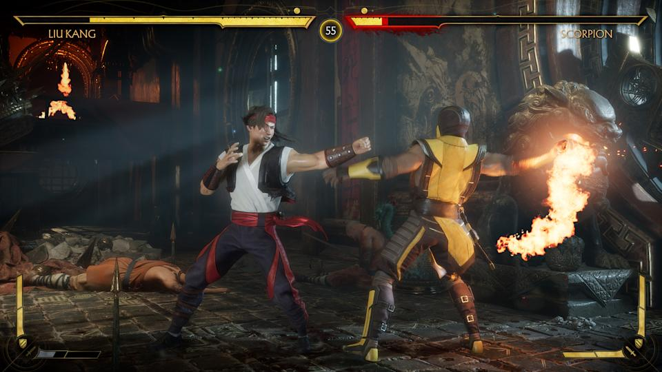 Two players fight each other in Mortal Kombat 11
