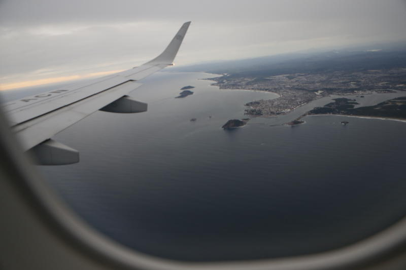 The city of Mazatlan, Mexico, is seen from a plane window, late Monday, Oct. 22, 2018. A potential catastrophic Hurricane Willa swept toward Mexico's Pacific coast Monday night, threatening a stretch of high-rise resort hotels, surfing beaches and fishing villages. (AP Photo/Marco Ugarte)