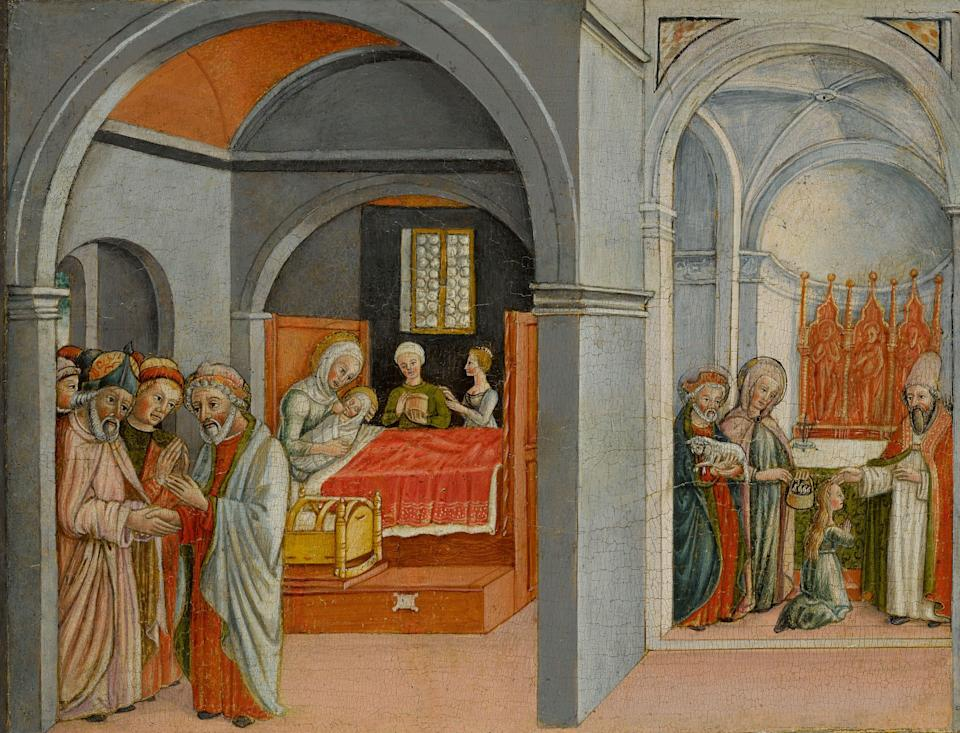 """<div class=""""caption""""> <em>The Birth and Presentation of The Blessed Virgin Mary in the Temple</em>; <em>The Funeral of Virgin Mary</em> by Matteo Cesa (1425 - 1491) </div> <cite class=""""credit"""">Courtesy of Sotheby's New York</cite>"""