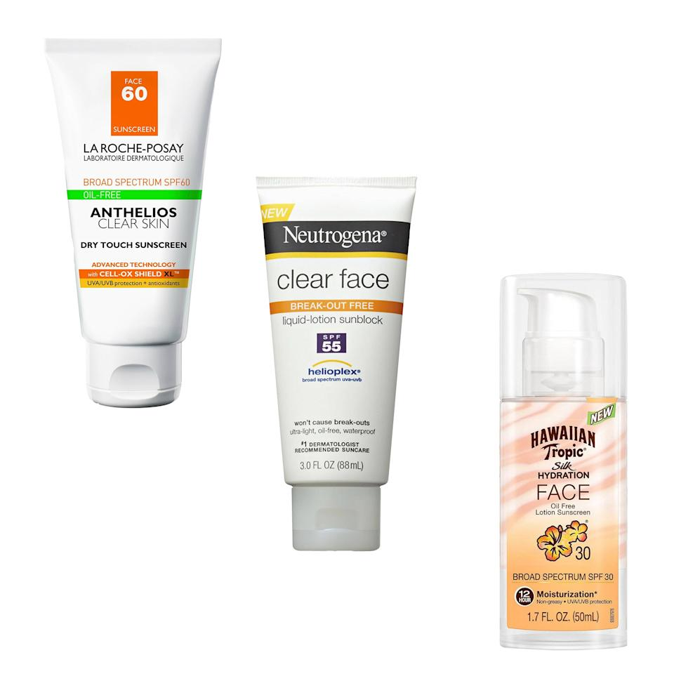 """<p><b><a rel=""""nofollow"""" href=""""http://www.target.com/p/anthelios-60-clear-skin-dry-touch-sunscreen-6-oz/-/A-49124120?mbid=synd_yahoobeauty"""">La Roche-Posay Anthelios 60 Clear Skin Dry Touch Sunscreen</a></b>. """"This is the James Perse T-shirt of sunscreens. So light, so soft, you forget you are wearing it."""" - <em>Patricia Alfonso Tortolani, contributing editorial projects director</em></p><p><b><a rel=""""nofollow"""" href=""""http://www.neutrogena.com/product/clear+face+liquid+lotion+sunscreen+broad+spectrum+spf+55.do?mbid=synd_yahoobeauty"""">Neutrogena Clear Face Liquid-Lotion Sunscreen SPF 55</a></b>. """"It's got a high SPF, but you'd never guess it from using the stuff. It's easy to rub on, wears well under makeup, and feels more like a good daily moisturizer than a heavy-duty sunscreen."""" — <em>Elizabeth Siegel, deputy beauty director</em></p><p><b><a rel=""""nofollow"""" href=""""http://www.ulta.com/silk-hydration-faces-lotion-spf-30?mbid=synd_yahoobeauty&productId=xlsImpprod6450150"""">Hawaiian Tropic Silk Hydration Oil-Free Lotion Face Sunscreen SPF 30</a></b>. """"I know very well that any other line-smoothing, pigment-fading efforts are futile without borderline compulsive sunscreen use. I've been wearing this one under makeup every morning — even when it's cloudy, even when I know there are probably only a few minutes of sun exposure in my future."""" - <em>Jenny Bailly, executive beauty director</em></p>"""