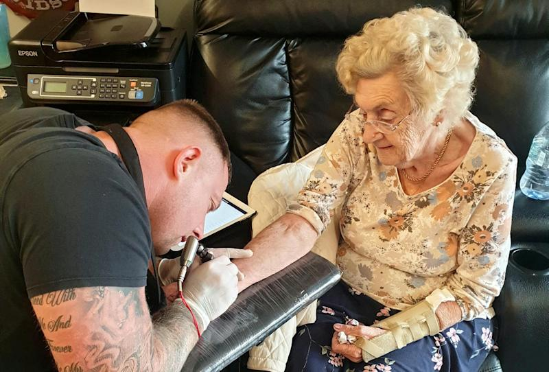 Hilda West has got her first tattoo at the age of 94 (Picture: SWNS)