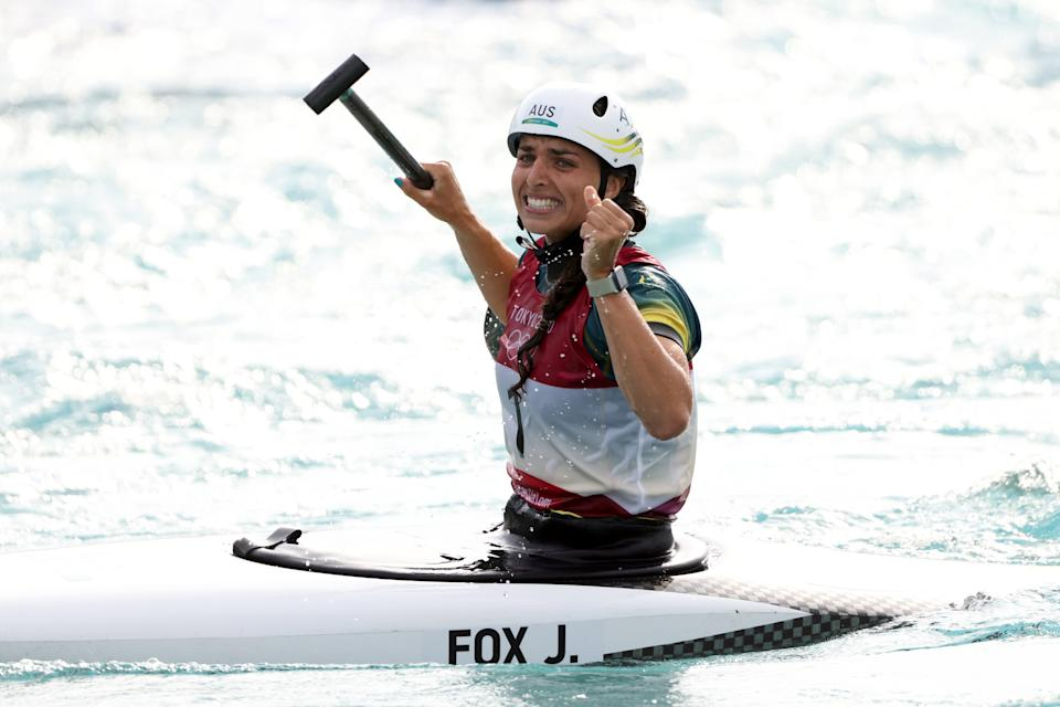 Jessica Fox (pictured) celebrates after winning the Women's Canoe Slalom final at the Tokyo Olympics.