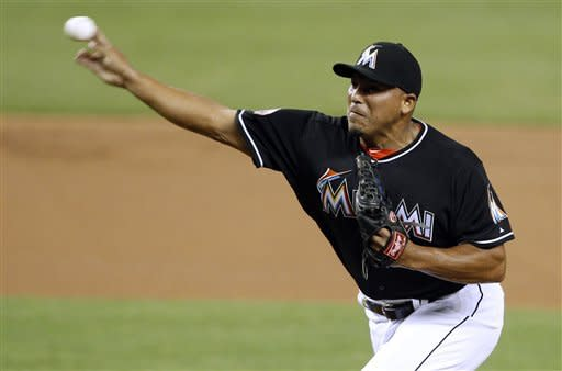 Miami Marlins starting pitcher Carlos Zambrano throws in the first inning during a baseball game against the Arizona Diamondbacks in Miami, Friday, April 27, 2012. (AP Photo/Lynne Sladky)