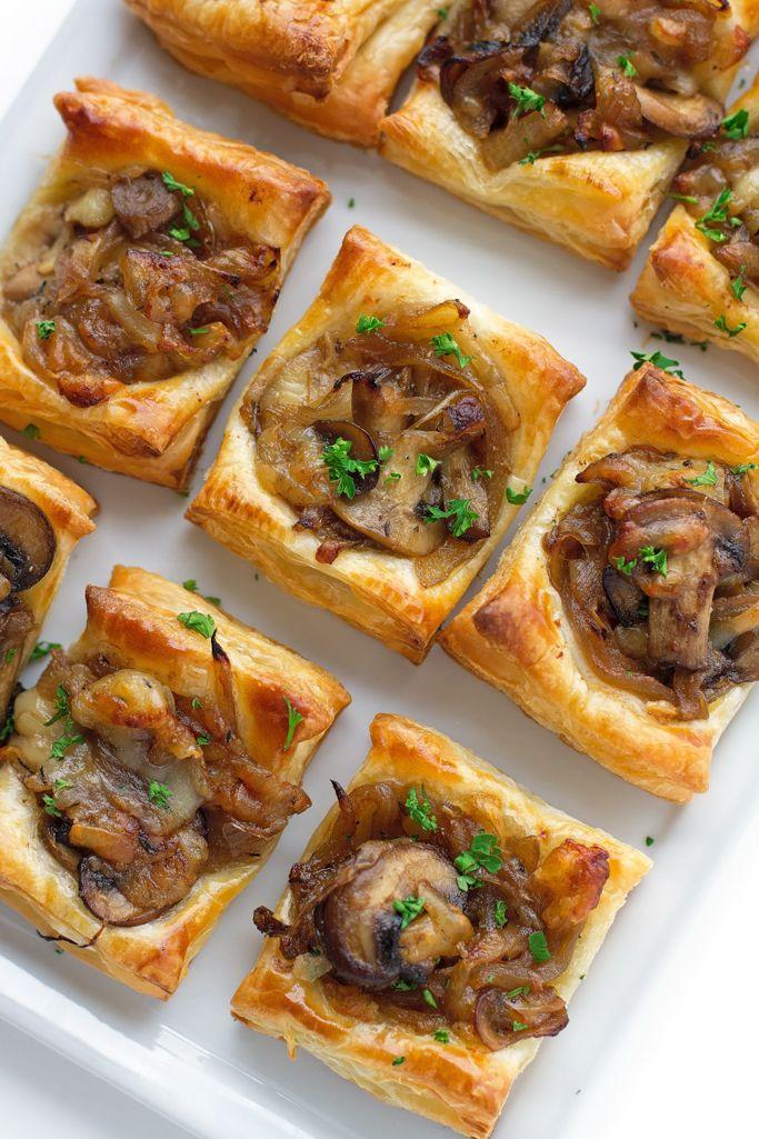 """<p>These flaky tarts can be served as an appetizer, or as a complement to the main meal. </p><p><strong>Get the recipe at <a href=""""http://littlespicejar.com/gruyere-mushroom-caramelized-onion-bites/"""" rel=""""nofollow noopener"""" target=""""_blank"""" data-ylk=""""slk:Little Spice Jar"""" class=""""link rapid-noclick-resp"""">Little Spice Jar</a>.</strong> </p>"""