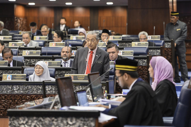 Prime Minister Tun Dr Mahathir Mohammad speaks during Parliamentary session in Dewan Rakyat on July 16, 2019. — Picture by Miera Zulyana