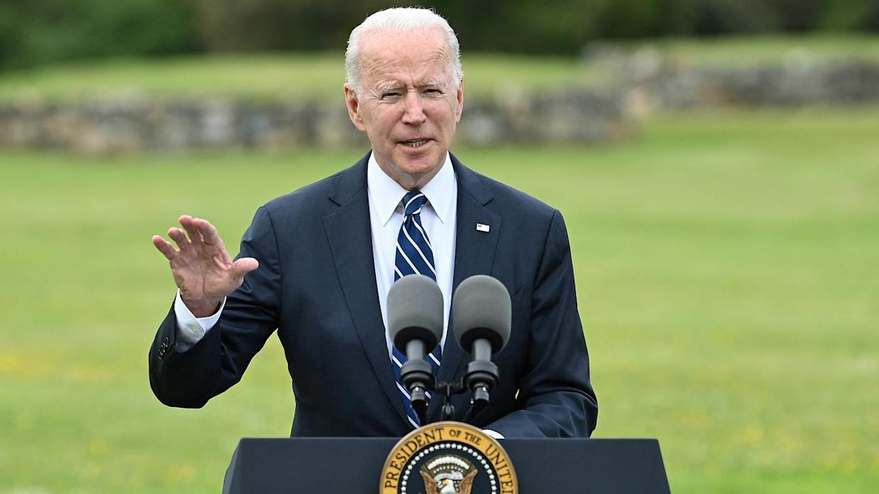 US President Joe Biden delivers a speech on the COVID-19 pandemic, in St Ives, Cornwall on June 10, 2021, ahead of the three-day G7 summit being held from 11-13 June. (Brendan Smialowski/AFP via Getty Images)