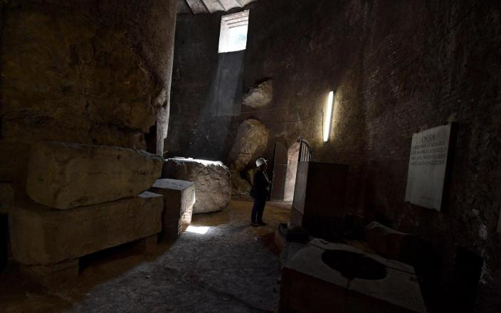 Inside the heart of the mausoleum, built 2,000 years ago by Augustus - EPA