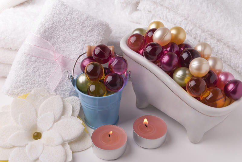 Various items for bath oil pearls towers candles
