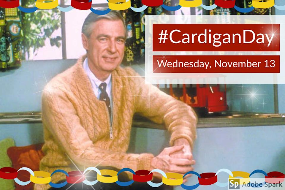 People are celebrating #CardiganDay on World Kindness Day in honor of Mr. Rogers. (Photo: Twitter)