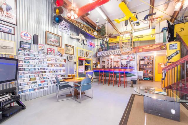 Shaw, a former plumbing contractor and inventor, built the man cave with corrugated metal salvaged from an old fence.