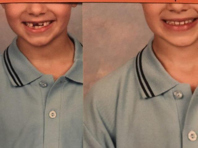 The class picture, before and after the digital altering, which added teeth. (Photo: Angela Pickett/Words by Ange)