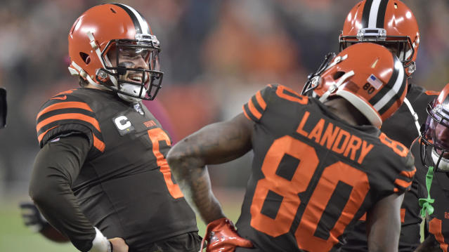 Cleveland Browns quarterback Baker Mayfield (6) celebrates with wide receiver Jarvis Landry (80) after a 1-yard touchdown pass to Landry during the first half of the team's NFL football game against the Pittsburgh Steelers, Thursday, Nov. 14, 2019, in Cleveland. (AP Photo/David Richard)