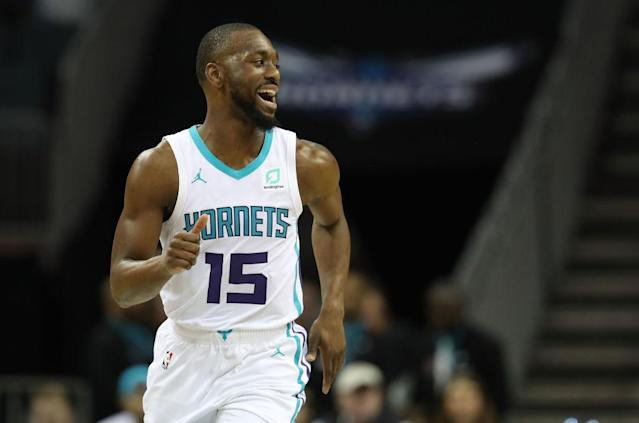 """<a class=""""link rapid-noclick-resp"""" href=""""/nba/teams/cha"""" data-ylk=""""slk:Charlotte Hornets"""">Charlotte Hornets</a> point guard <a class=""""link rapid-noclick-resp"""" href=""""/nba/players/4890/"""" data-ylk=""""slk:Kemba Walker"""">Kemba Walker</a> is laughing his way to the bank. (Getty Images)"""