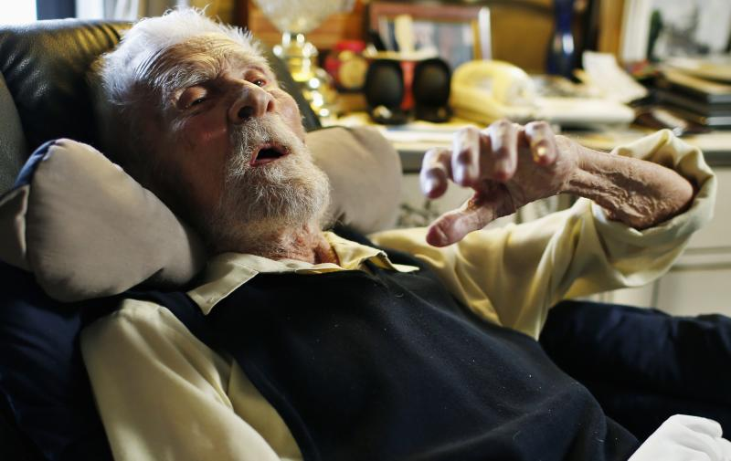 111 year-old Dr. Alexander Imich, the world's oldest living man, speaks during an interview with Reuters at his home on New York City's upper west side, May 9, 2014. Dr. Imich, who holds a Ph.d in Zoology, was born in Poland on February 4,1903, fled Poland when the Nazis took over in 1939, survived a slave labor camp in Russia and moved to the United States in 1951 where he became an author on parapsychology. REUTERS/Mike Segar (UNITED STATES - Tags: SOCIETY)
