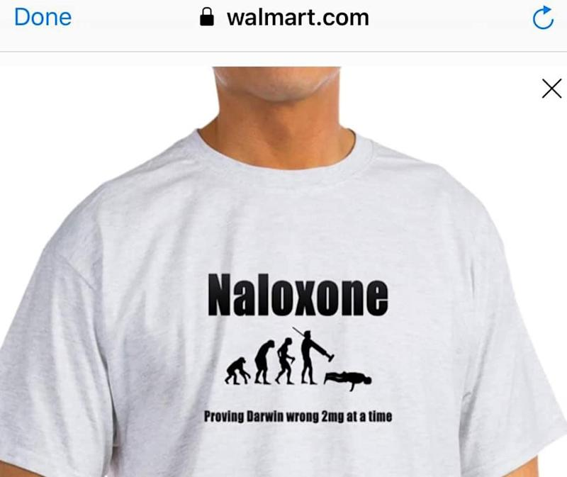 This shirt offered at Walmart.com is angering residents who've lost loved ones to the opioid epidemic.