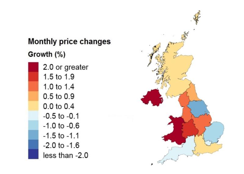 How much average UK prices rose between October and November 2019. Darker colours indicate faster growth. Chart: HM Land Registry