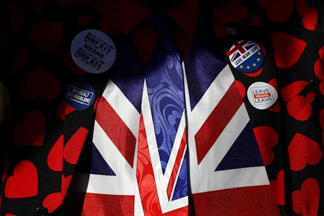 Flags and pins of pro-Brexit demonstrators. Photo: Simon Dawson/Reuters
