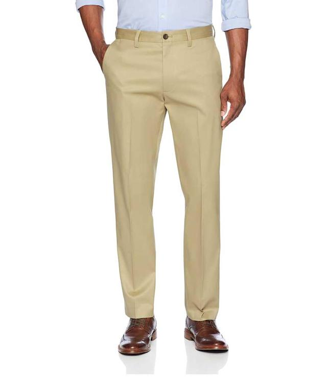 "<p>Men's Straight Fit Non-Iron Dress Chino Pant in Wheat, $59 + up to 50% off, <a href=""https://www.amazon.com/dp/B077KRRX4P/ref=twister_B077KSJH1L"" rel=""nofollow noopener"" target=""_blank"" data-ylk=""slk:amazon.com"" class=""link rapid-noclick-resp"">amazon.com </a> </p>"