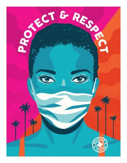 "A free, downloadable poster, designed by Shepard Fairey's Studio Number One and Camilla Lonis, is part of the city's new L.A. Mask Print Project. <span class=""copyright"">(Studio Number One)</span>"