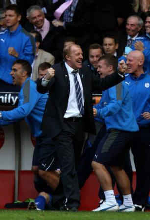 Sheffield Wednesday's manager Gary Megson celebrates after his side score their second goal of the game
