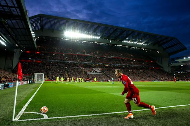 A general view as Xherdan Shaqiri of Liverpool takes a corner during the UEFA Champions League Semi Final second leg match between Liverpool and Barcelona at Anfield on May 7, 2019 in Liverpool, England. (Photo by Robbie Jay Barratt - AMA/Getty Images)