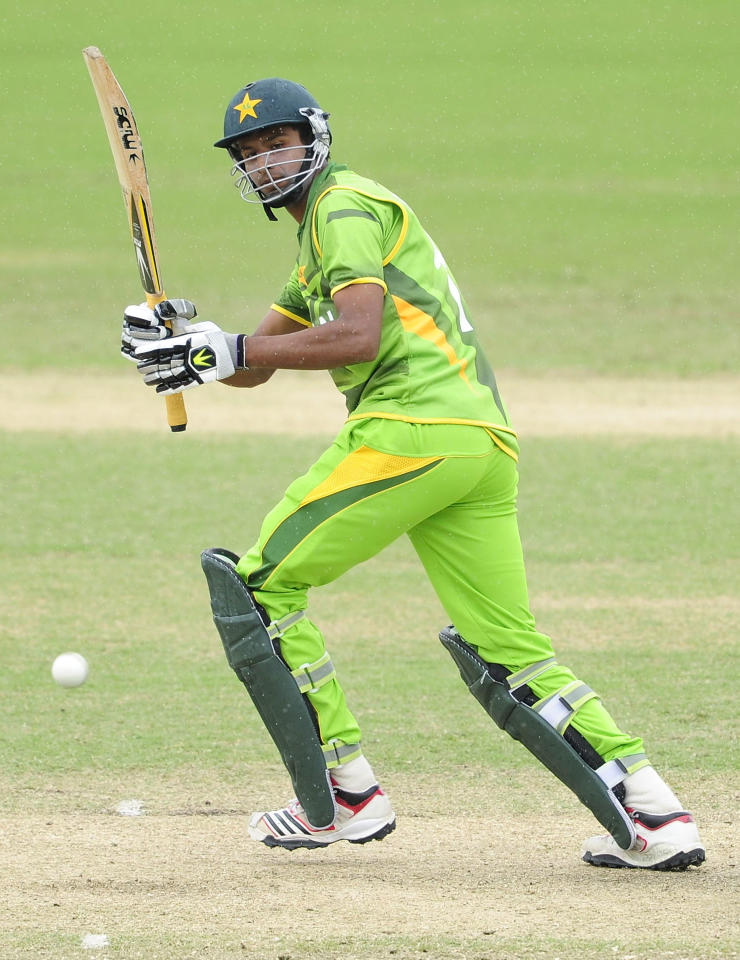 TOWNSVILLE, AUSTRALIA - AUGUST 20:  Ehsan Adil of Pakistan bats during the ICC U19 Cricket World Cup 2012 Quarter Final match between India and Pakistan at Tony Ireland Stadium on August 20, 2012 in Townsville, Australia.  (Photo by Ian Hitchcock-ICC/Getty Images)