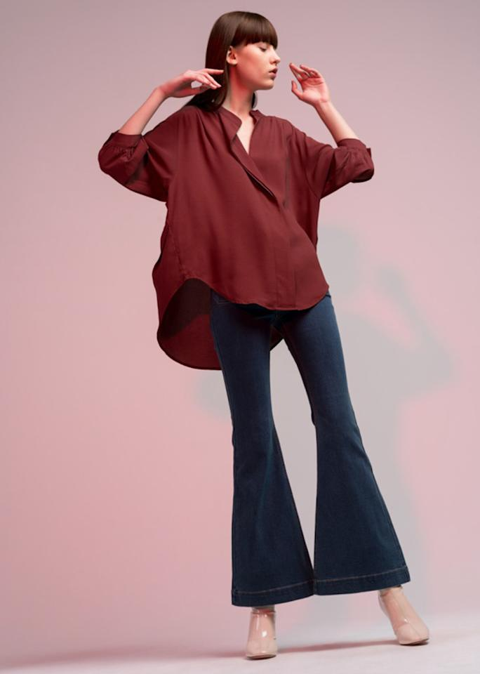 "Burgundy Oversized Blouse, $129; at <a rel=""nofollow"" href=""https://genuine-people.com/"" rel="""">Genuine People</a>"