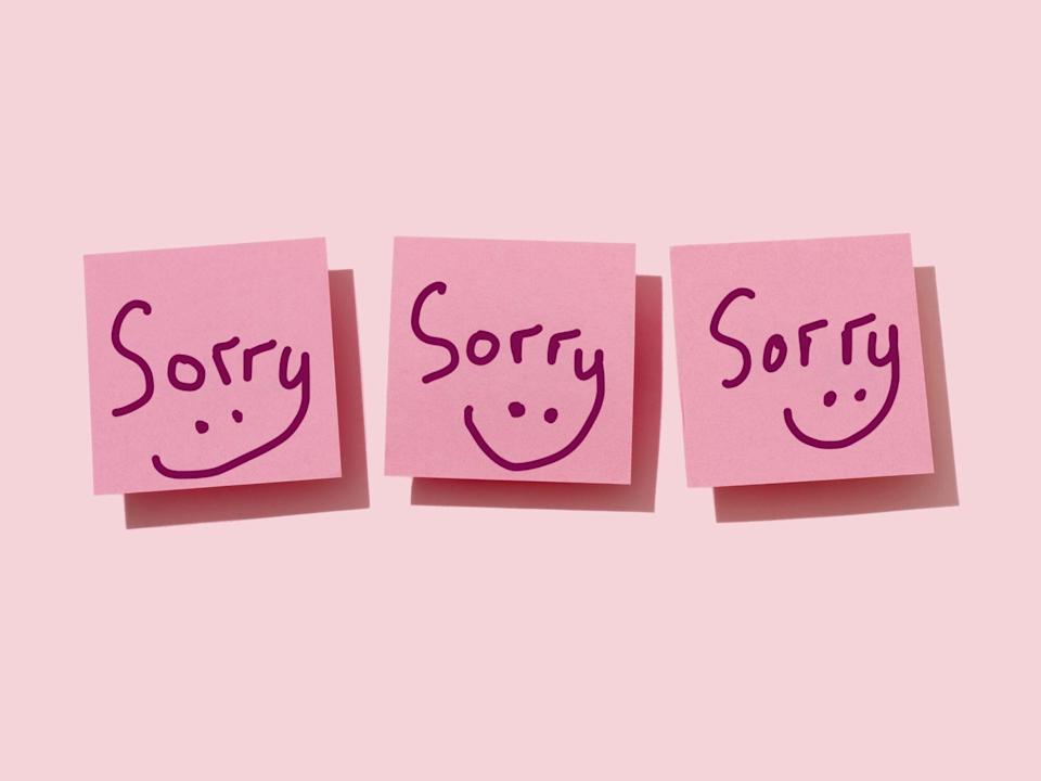 Why Writer Elizabeth Passarella Won't Stop Apologizing: sticky notes that say sorry