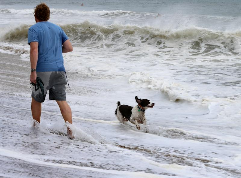 A dog runs along the coast line on Spanish River Park beach in Boca Raton as Hurricane Dorian now a Cat 4, lashing Bahamas as it crawls toward Florida before turn north on Monday, Sept. 2, 2019. (Photo: Pedro Portal/Miami Herald/Tribune News Service via Getty Images)