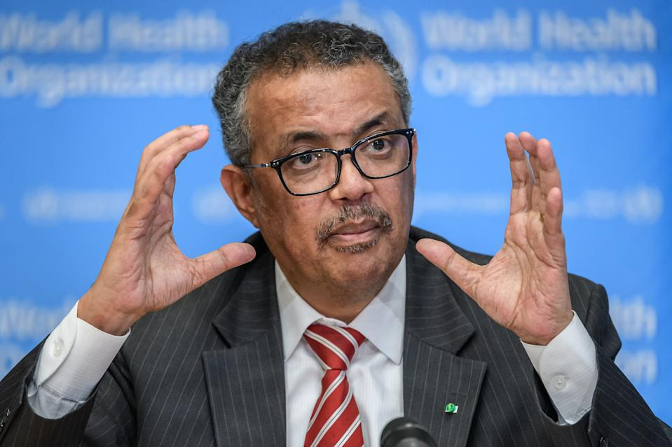 EDITORS NOTE: Graphic content / World Health Organization (WHO) Director-General Tedros Adhanom Ghebreyesus talks during a daily press briefing on COVID-19 virus at the WHO headquaters in Geneva on March 11, 2020. - WHO Director-General Tedros Adhanom Ghebreyesus announced on March 11, 2020 that the new coronavirus outbreak can now be characterised as a pandemic. (Photo by Fabrice COFFRINI / AFP) (Photo by FABRICE COFFRINI/AFP via Getty Images)
