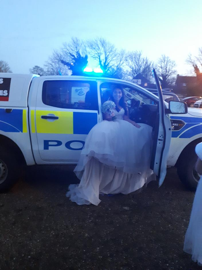 Jenna Bassam was only 20 minutes late to her wedding despite her car breaking down (Picture: Bedfordshire Police)