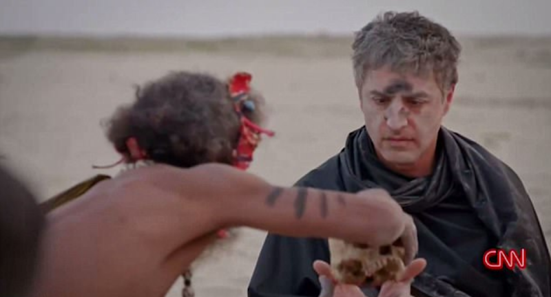 Journalist Reza Aslan met a real-life cannibal in a spine tingling video. Source: CNN