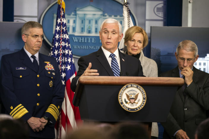 Vice President Mike Pence at a coronavirus briefing in the White House on Friday. (Manuel Balce Ceneta/AP)