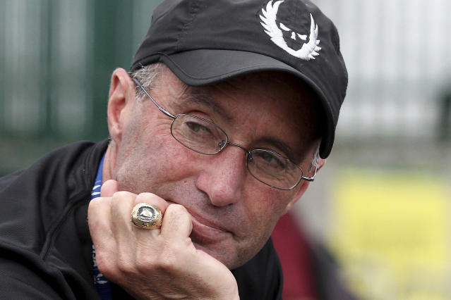 FILE - In this June 28, 2015, file photo, Alberto Salazar is shown at the U.S. track and field championships in Eugene, Ore. The Court of Arbitration for Sport says it has registered an appeal by track coach Alberto Salazar against his ban for doping violations, though a hearing will take several months to prepare, it was reported on Monday, Nov. 11, 2019. (AP Photo/Ryan Kang, File)