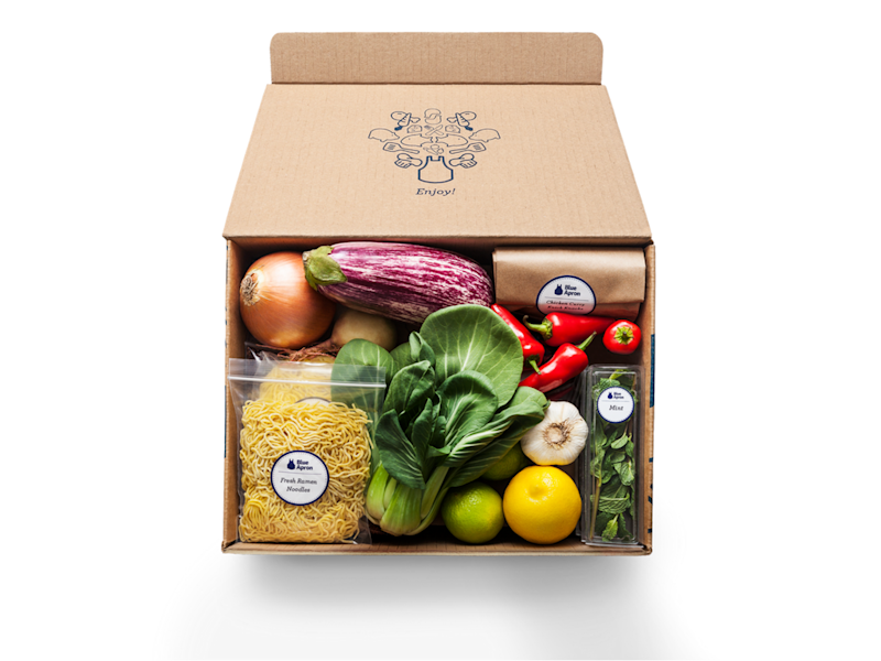 A box of vegetables and noodles from Blue Apron.