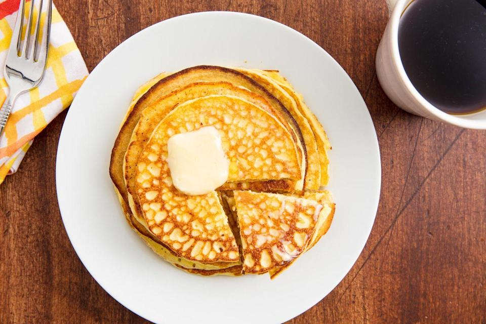 """<p>Almond flour makes these pancakes extra cakey.</p><p>Get the recipe from <a href=""""https://www.delish.com/cooking/recipe-ideas/recipes/a58712/keto-pancakes-recipe/"""" rel=""""nofollow noopener"""" target=""""_blank"""" data-ylk=""""slk:Delish"""" class=""""link rapid-noclick-resp"""">Delish</a>.</p>"""