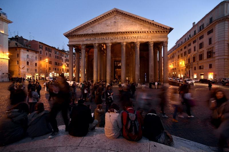 The businesses closed down by Italian police are all located close to the Pantheon and other landmark sites in Rome's historic centre (AFP Photo/Filippo Monteforte)