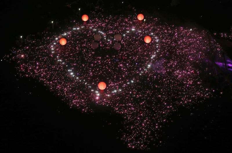 Participants form a giant pink dot at the Speakers' Corner in Hong Lim Park in Singapore