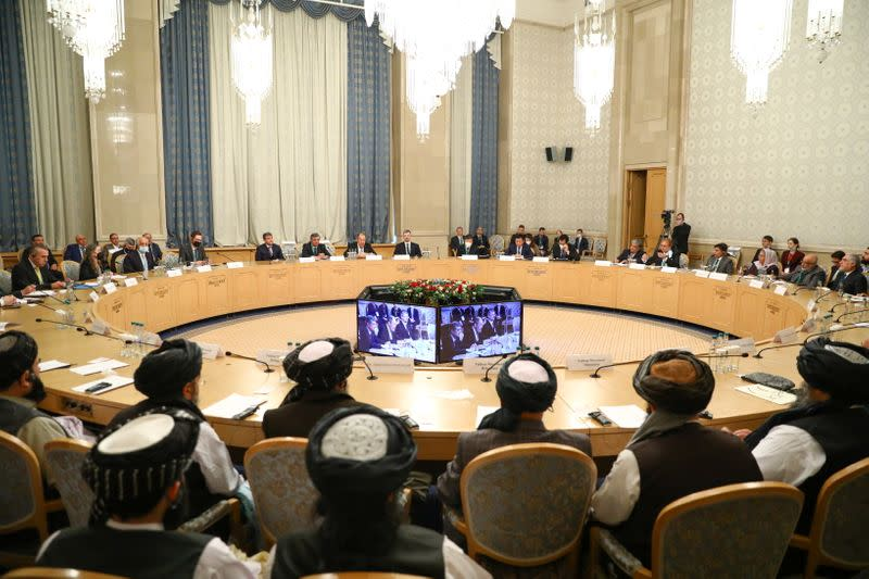 Officials attend the Afghan peace conference in Moscow