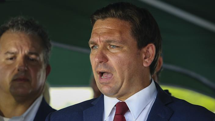 Florida Governor Ron DeSantis speaks during a press conference after 12-storey Champlain Tower partially collapsed in Surfside, Florida, U.S., on June 24, 2021. (Eva Marie Uzcategui Trinkl/Anadolu Agency via Getty Images)