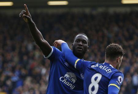 Britain Soccer Football - Everton v Burnley - Premier League - Goodison Park - 15/4/17 Everton's Romelu Lukaku celebrates scoring their third goal with Ross Barkley Reuters / Andrew Yates Livepic
