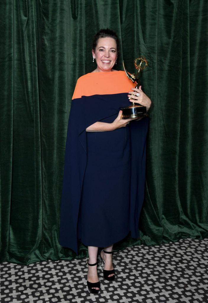 LONDON, ENGLAND - SEPTEMBER 19: Olivia Colman with her Emmy award for 'Outstanding Lead Actress for a Drama Series', at the 'The Crown' 73rd Primetime Emmys Celebration at Soho House on September 19, 2021 in London, England. (Photo by Gareth Cattermole/Getty Images)
