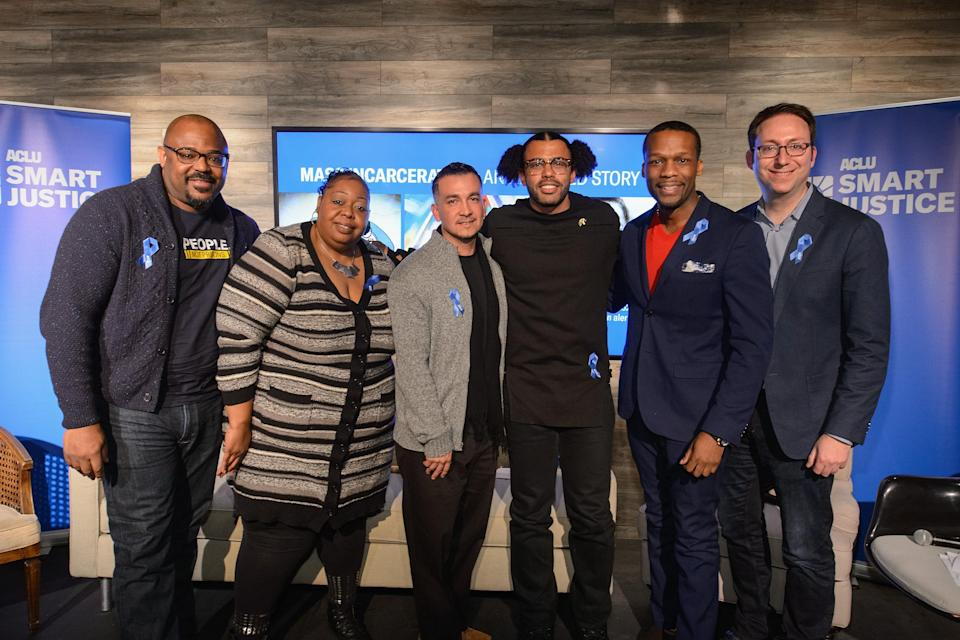 """Johnny Perez (second from right) and others attend a panel discussion for the screening of """"Mass Incarceration: An Animated Story"""" at The Claim Jumper on January 20, 2018 in Park City, Utah. (Photo by Daniel Boczarski/Getty Images for ACLU)"""