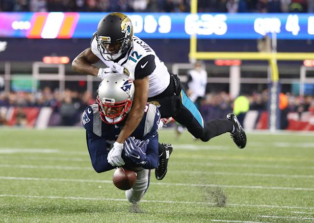 <p>New England Patriots cornerback Stephon Gilmore (24) breaks up a pass intended for Jacksonville Jaguars wide receiver Shane Wynn (14) during the fourth quarter in the AFC Championship Game at Gillette Stadium. Mandatory Credit: Mark J. Rebilas-USA TODAY Sports </p>