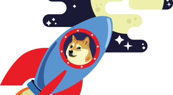 Doge rides a rocket to the moon.