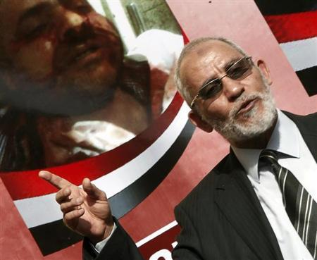 The supreme guide of Egypt's Muslim Brotherhood Mohamed Badie speaks during a news conference at the Brotherhood's main office in Cairo in this file photo taken December 8, 2012. REUTERS/Amr Abdallah Dalsh