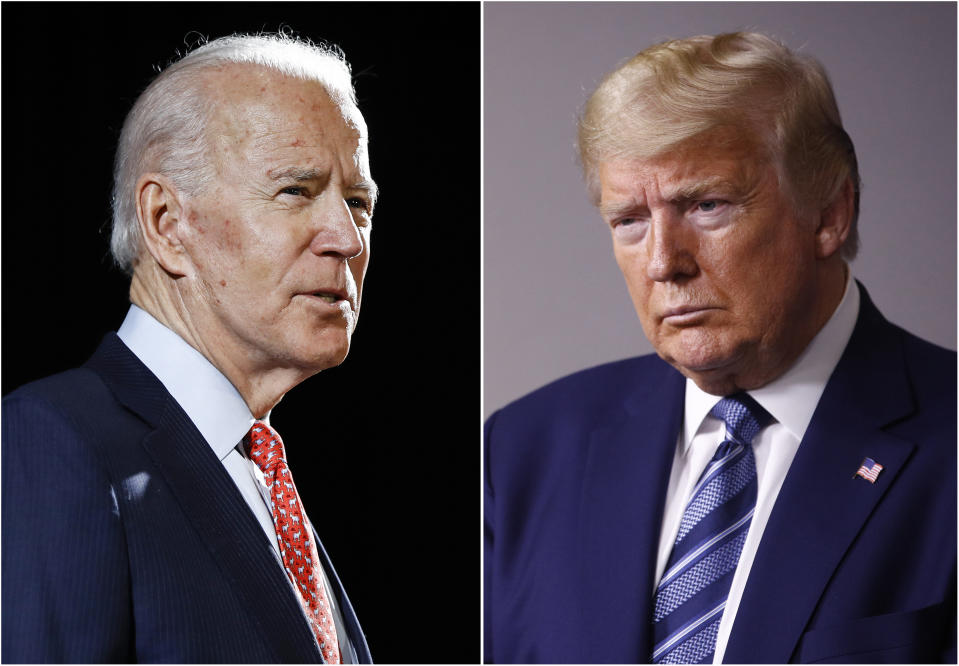 FILE - In this combination of file photos, former Vice President Joe Biden speaks in Wilmington, Del., on March 12, 2020, left, and President Donald Trump speaks at the White House in Washington on April 5, 2020. The November presidential election is six months away. (AP Photo, File)