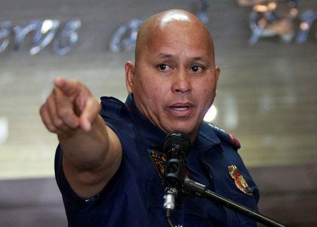 FILE PHOTO: Philippine National Police (PNP) Director General Ronald Dela Rosa gestures during a news conference at the PNP headquarters in Quezon city, Metro Manila