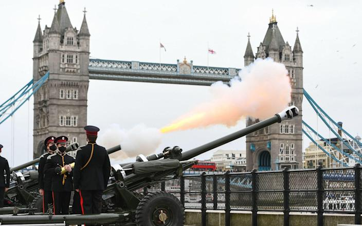 Members of the Honourable Artillery Company fire a 41-round gun salute from the wharf at the Tower of London, to mark the death of the Duke of Edinburgh. -  Dominic Lipinski/PA